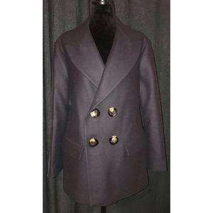 NEW ZARA Short Double Breasted Coat Jacket Blue